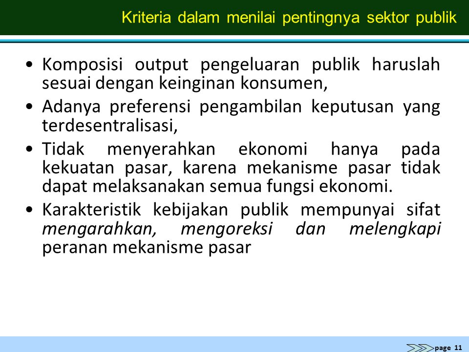 Kriteria dalam menilai pentingnya sektor publik