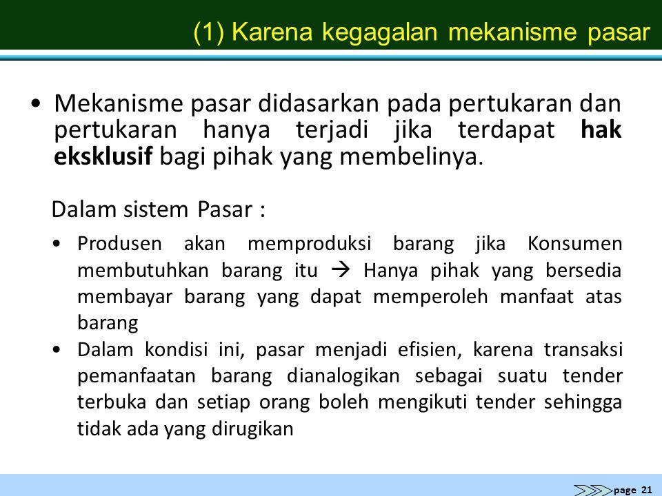 (1) Karena kegagalan mekanisme pasar
