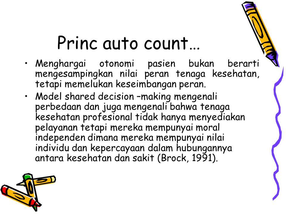 Princ auto count… Menghargai otonomi pasien bukan berarti mengesampingkan nilai peran tenaga kesehatan, tetapi memelukan keseimbangan peran.