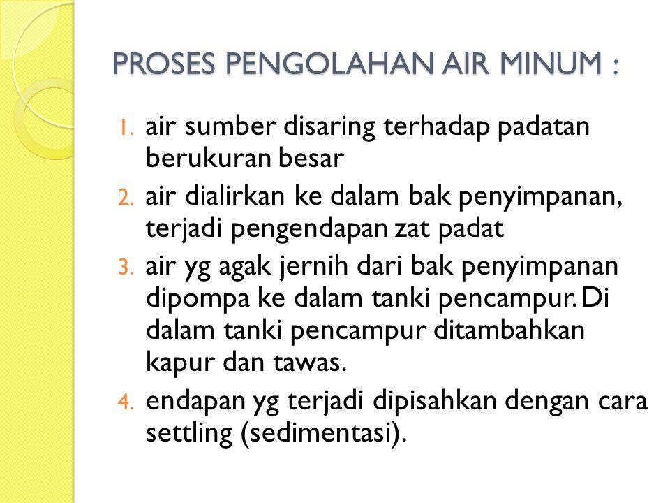 PROSES PENGOLAHAN AIR MINUM :