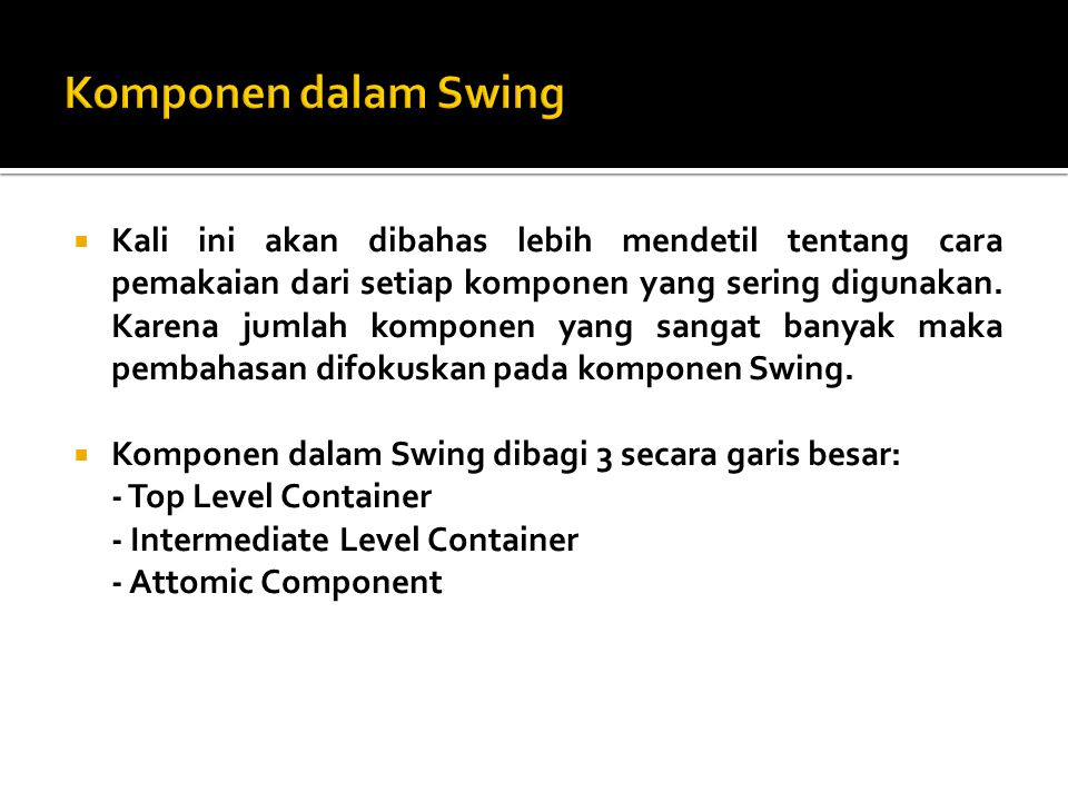 Komponen dalam Swing