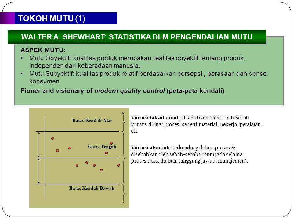 WALTER A. SHEWHART: STATISTIKA DLM PENGENDALIAN MUTU