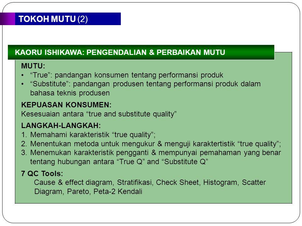 TOKOH MUTU (2) KAORU ISHIKAWA: PENGENDALIAN & PERBAIKAN MUTU. MUTU: True : pandangan konsumen tentang performansi produk.