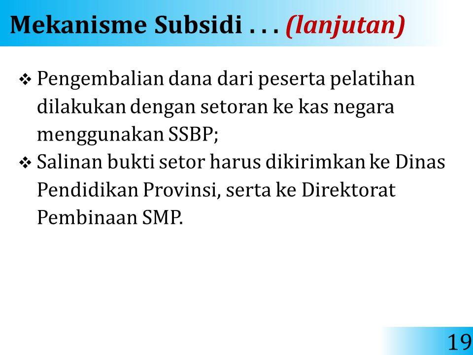 Mekanisme Subsidi . . . (lanjutan)