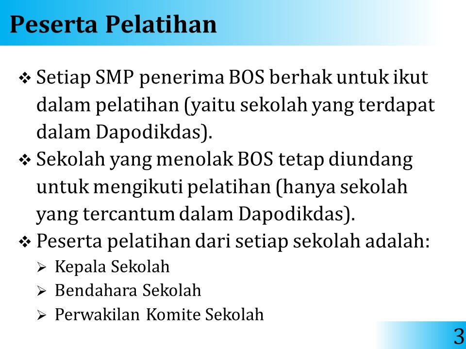 Peserta Pelatihan Setiap SMP penerima BOS berhak untuk ikut dalam pelatihan (yaitu sekolah yang terdapat dalam Dapodikdas).