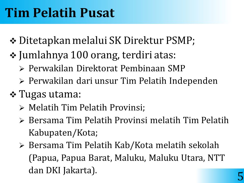 Tim Pelatih Pusat Ditetapkan melalui SK Direktur PSMP;