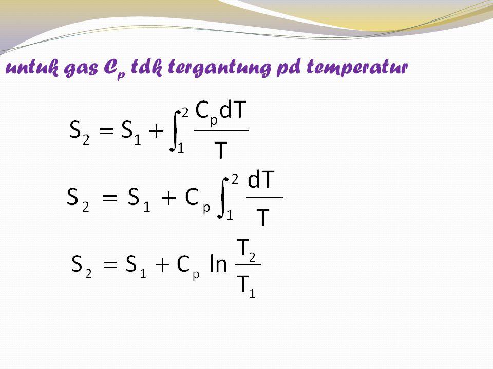 untuk gas Cp tdk tergantung pd temperatur