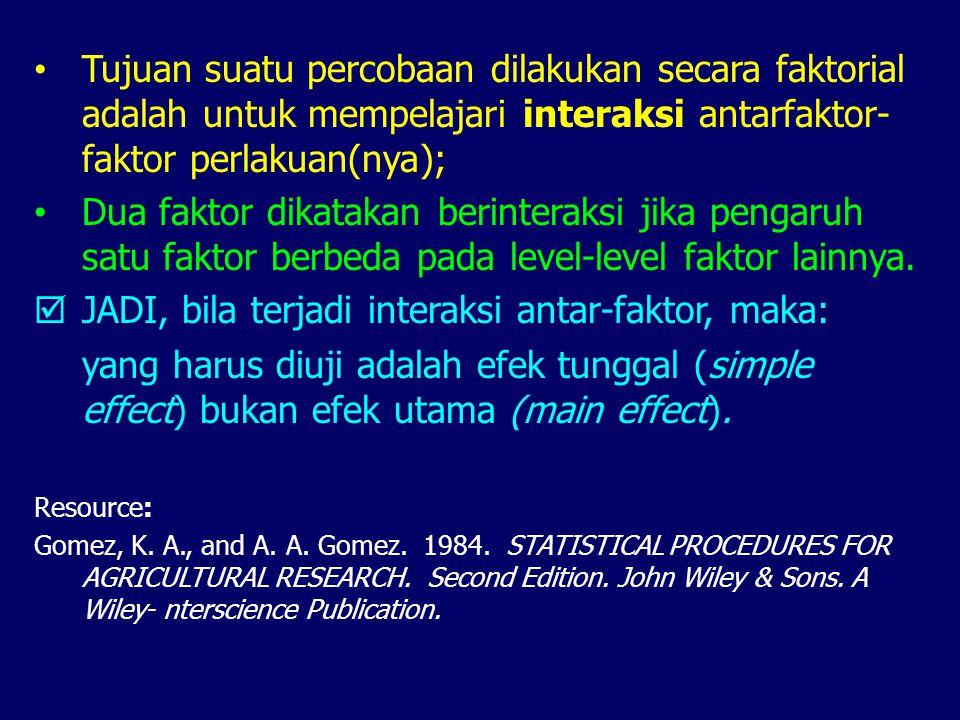  JADI, bila terjadi interaksi antar-faktor, maka:
