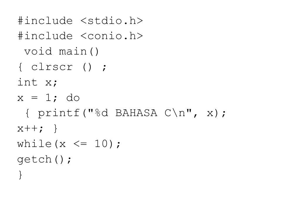 #include <stdio. h> #include <conio