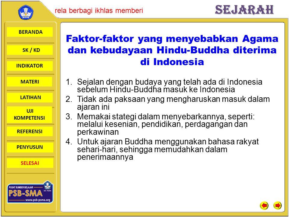 Faktor-faktor yang menyebabkan Agama dan kebudayaan Hindu-Buddha diterima di Indonesia