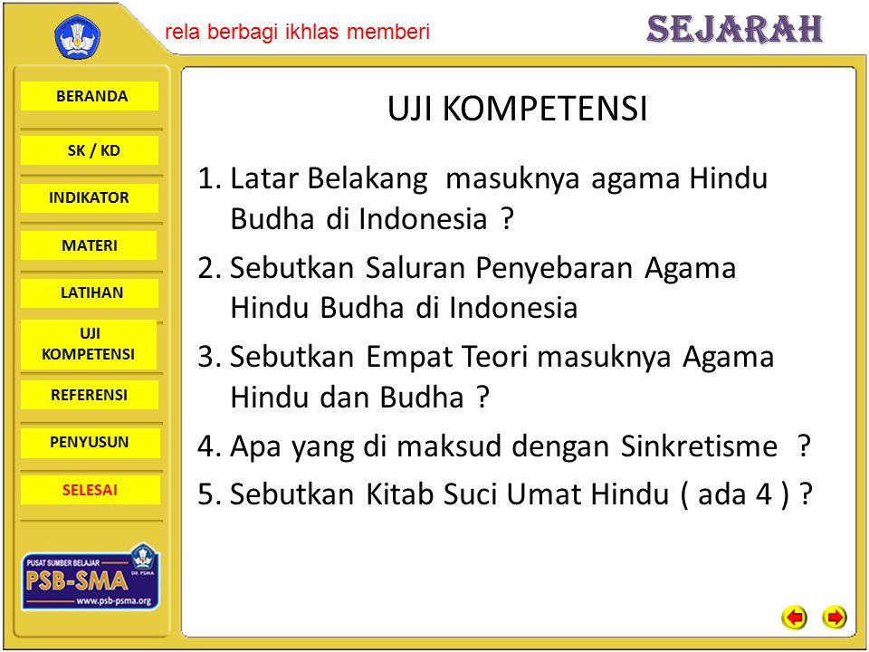 UJI KOMPETENSI Latar Belakang masuknya agama Hindu Budha di Indonesia Sebutkan Saluran Penyebaran Agama Hindu Budha di Indonesia.