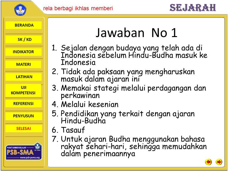 Jawaban No 1 Sejalan dengan budaya yang telah ada di Indonesia sebelum Hindu-Budha masuk ke Indonesia.
