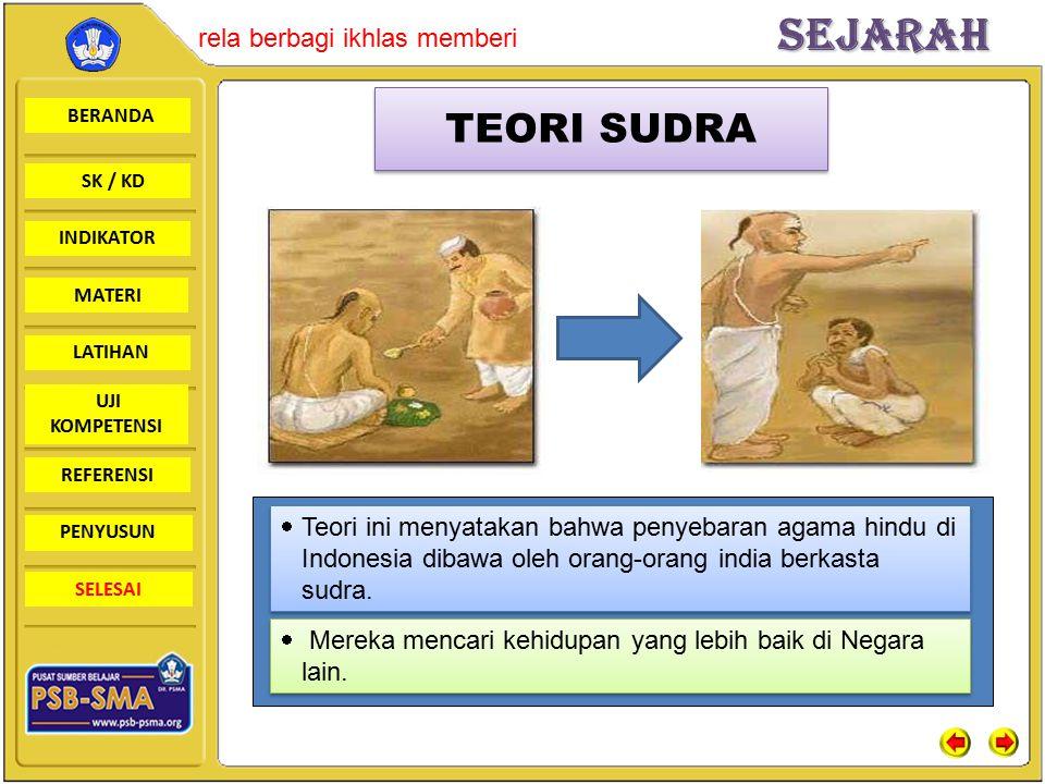 TEORI SUDRA Teori ini menyatakan bahwa penyebaran agama hindu di Indonesia dibawa oleh orang-orang india berkasta sudra.