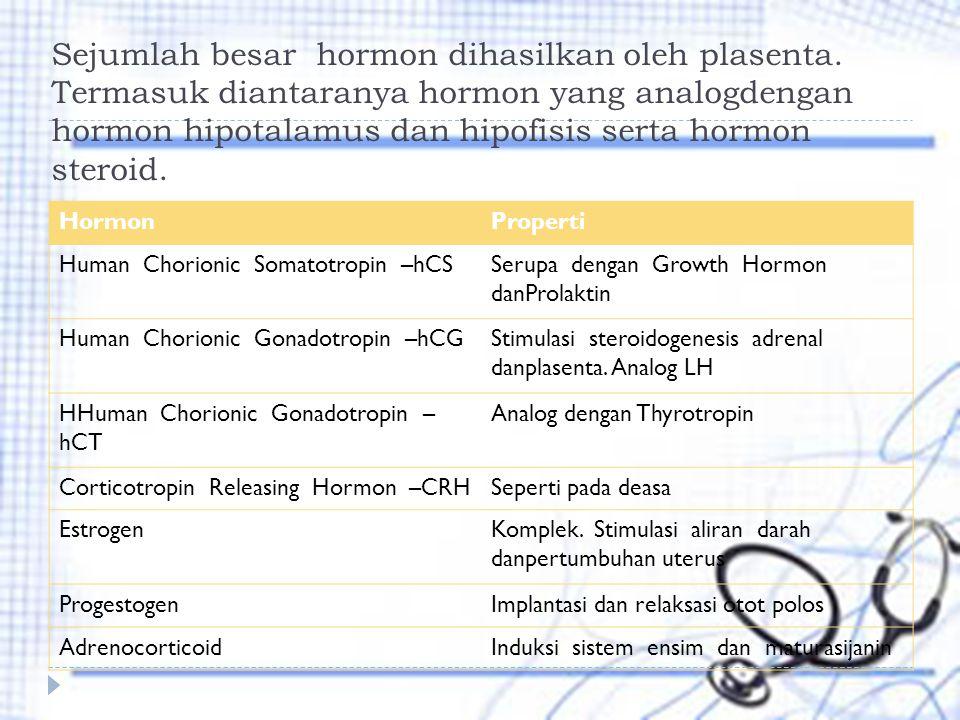 Sejumlah besar hormon dihasilkan oleh plasenta