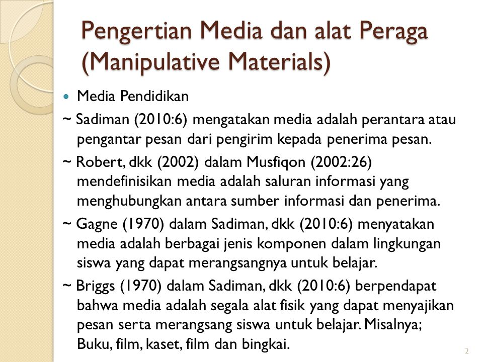 Pengertian Media dan alat Peraga (Manipulative Materials)