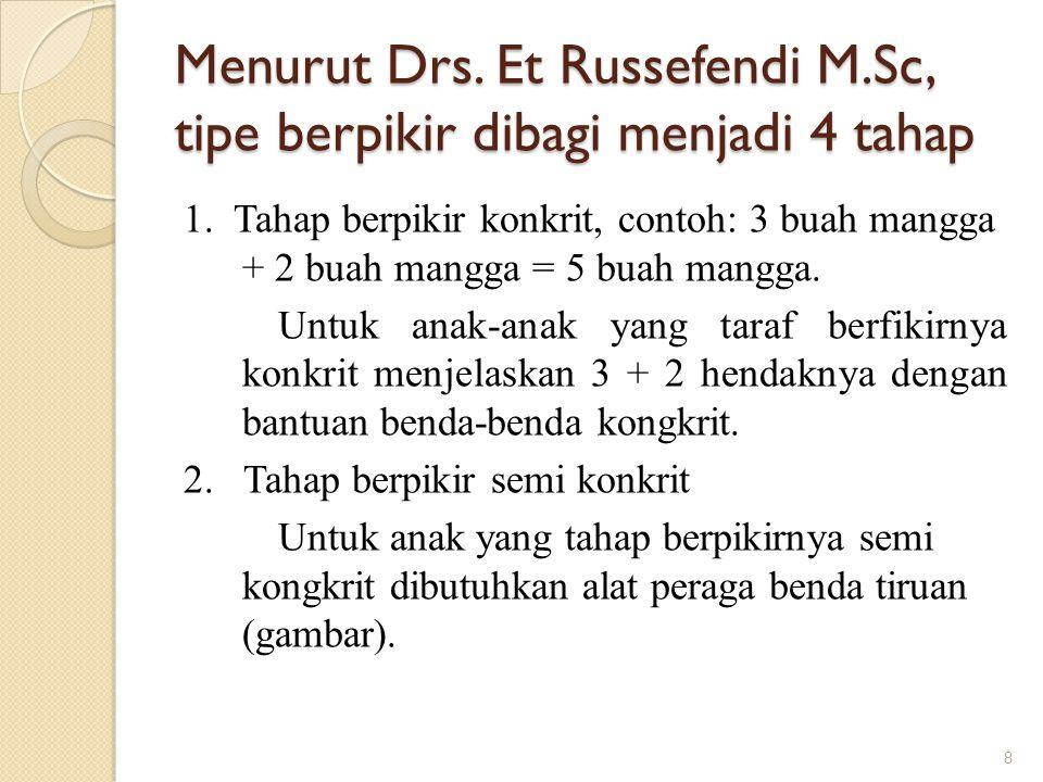 Menurut Drs. Et Russefendi M.Sc, tipe berpikir dibagi menjadi 4 tahap