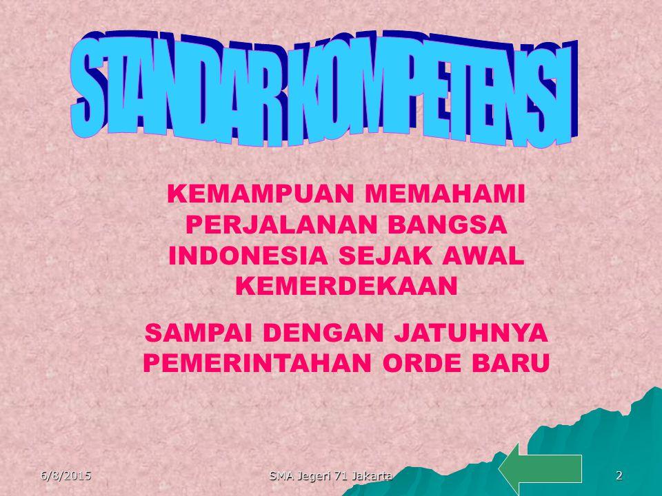 STANDAR KOMPETENSI KEMAMPUAN MEMAHAMI PERJALANAN BANGSA INDONESIA SEJAK AWAL KEMERDEKAAN. SAMPAI DENGAN JATUHNYA PEMERINTAHAN ORDE BARU.