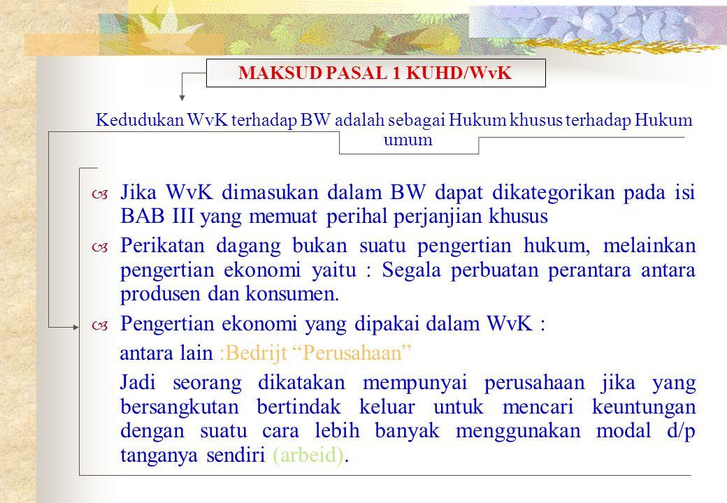 Pengertian ekonomi yang dipakai dalam WvK :
