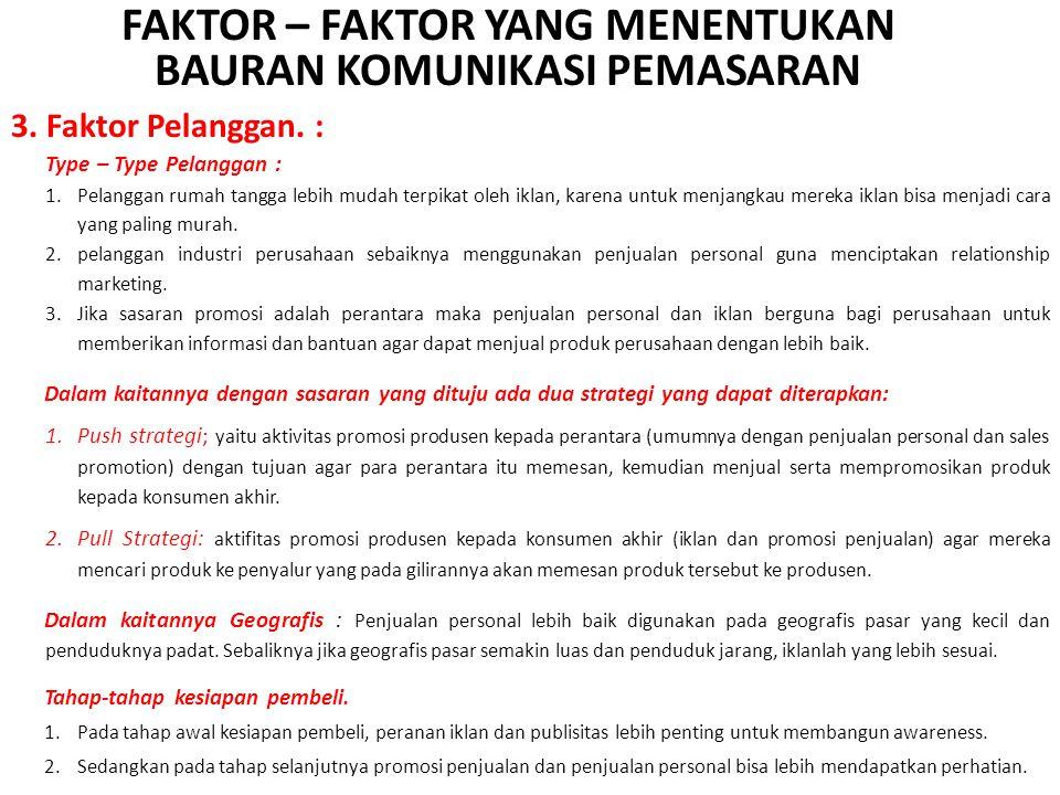 FAKTOR – FAKTOR YANG MENENTUKAN BAURAN KOMUNIKASI PEMASARAN