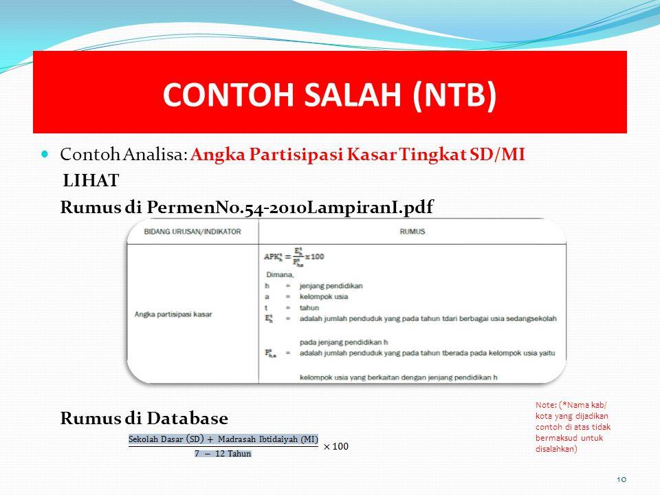 CONTOH SALAH (NTB) Contoh Analisa: Angka Partisipasi Kasar Tingkat SD/MI. LIHAT. Rumus di PermenNo.54-2010LampiranI.pdf.