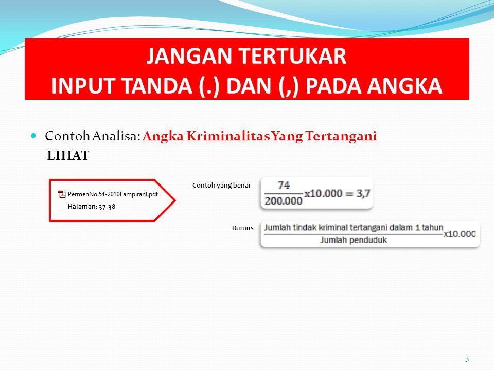 JANGAN TERTUKAR INPUT TANDA (.) DAN (,) PADA ANGKA