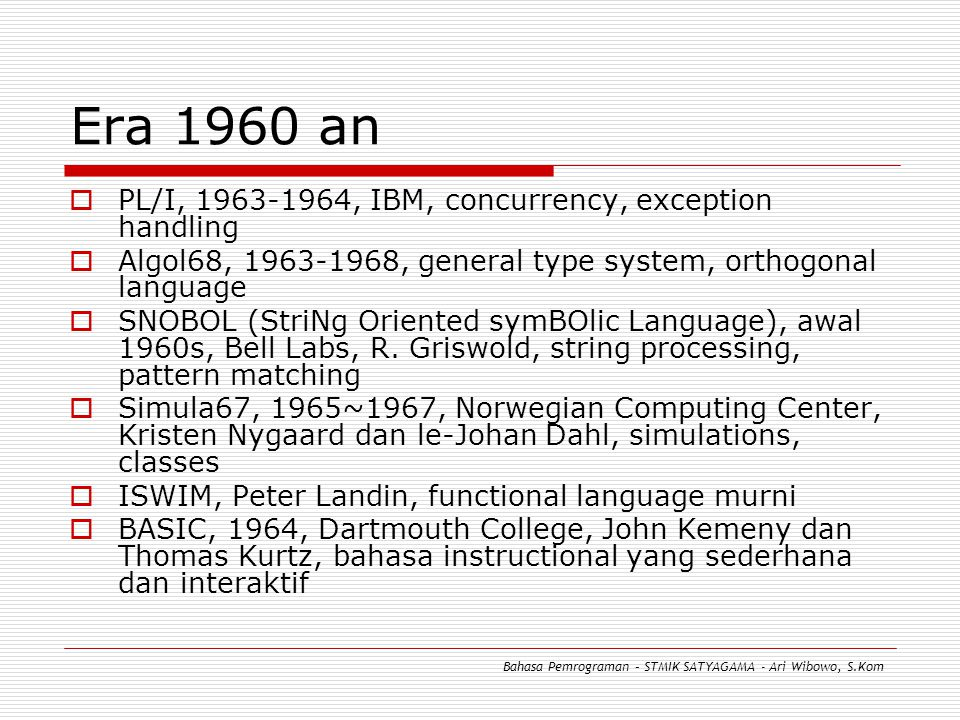 Era 1960 an PL/I, 1963-1964, IBM, concurrency, exception handling