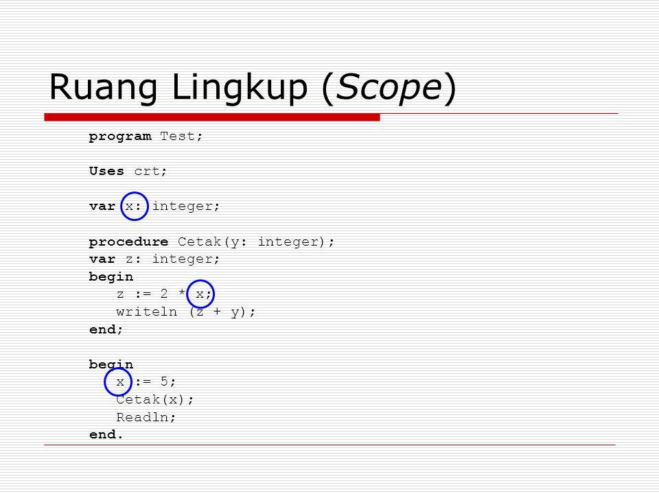 Ruang Lingkup (Scope) program Test; Uses crt; var x: integer;