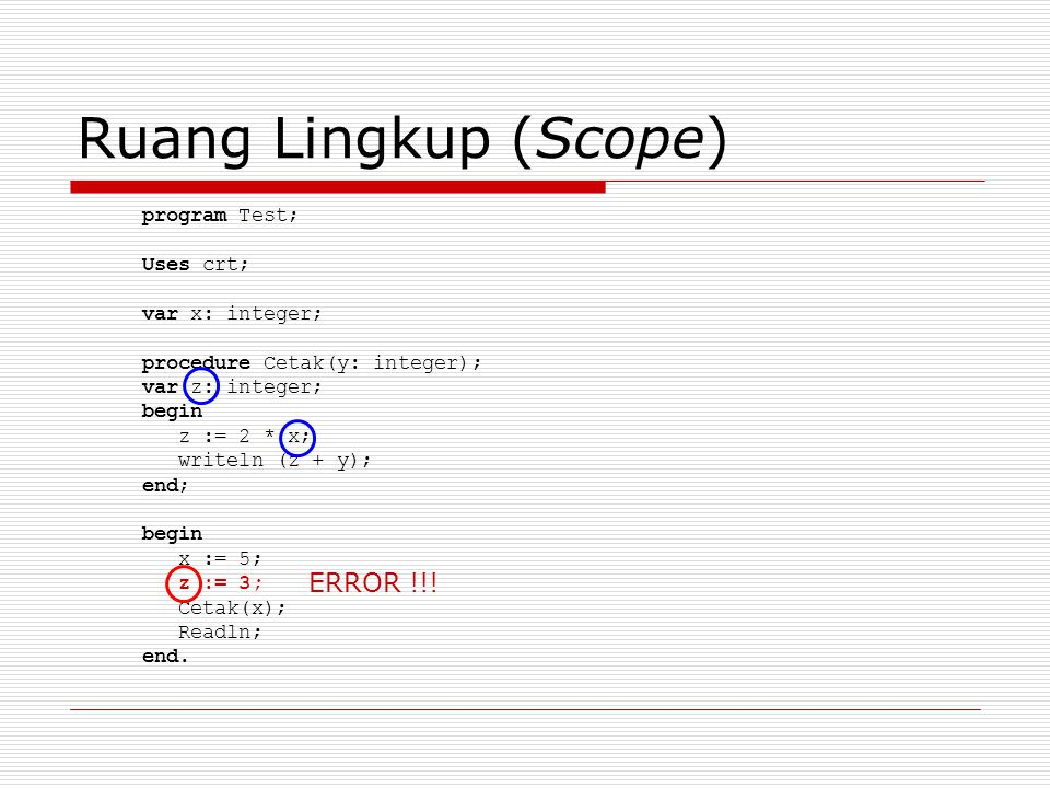 Ruang Lingkup (Scope) ERROR !!! program Test; Uses crt;