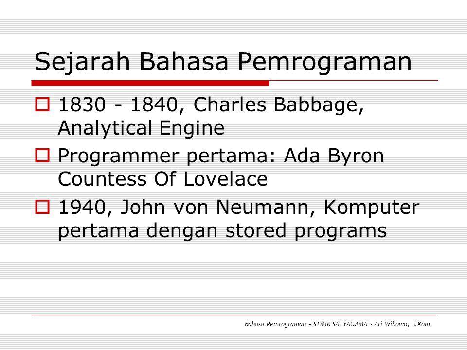 Sejarah Bahasa Pemrograman