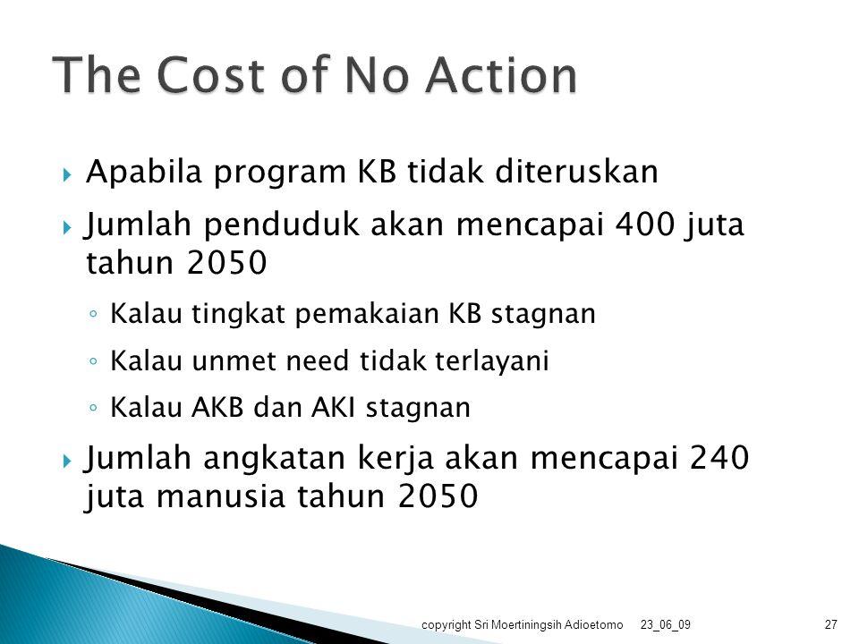 The Cost of No Action Apabila program KB tidak diteruskan