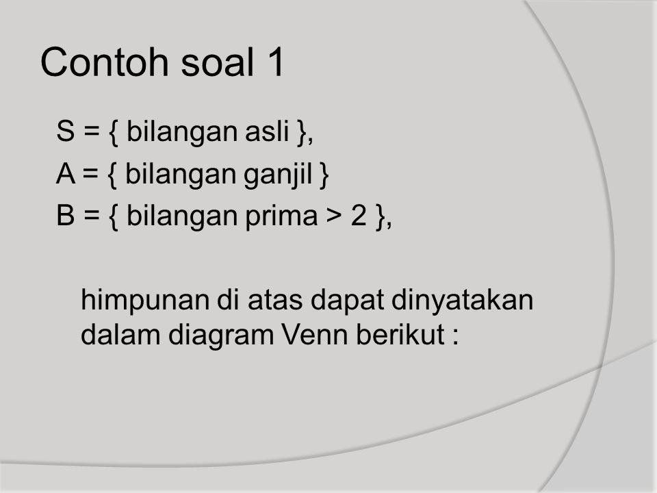Contoh soal 1 S = { bilangan asli }, A = { bilangan ganjil }