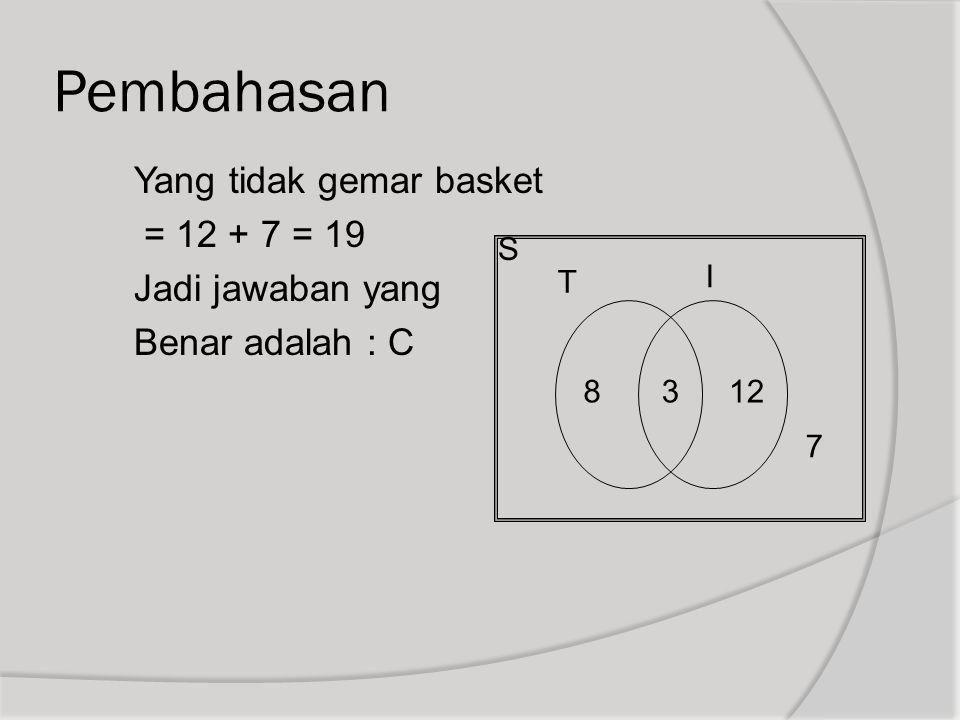 Pembahasan Yang tidak gemar basket = 12 + 7 = 19 Jadi jawaban yang Benar adalah : C S T I 8 3 12 7