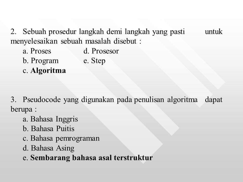 2. Sebuah prosedur langkah demi langkah yang pasti