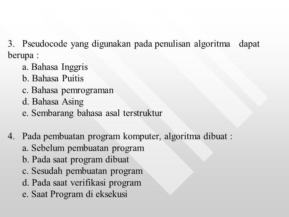 3. Pseudocode yang digunakan pada penulisan algoritma dapat berupa :
