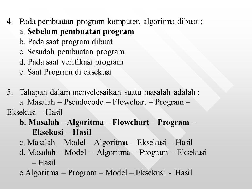 4. Pada pembuatan program komputer, algoritma dibuat :