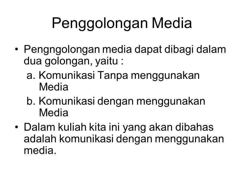 Penggolongan Media Pengngolongan media dapat dibagi dalam dua golongan, yaitu : a. Komunikasi Tanpa menggunakan Media.