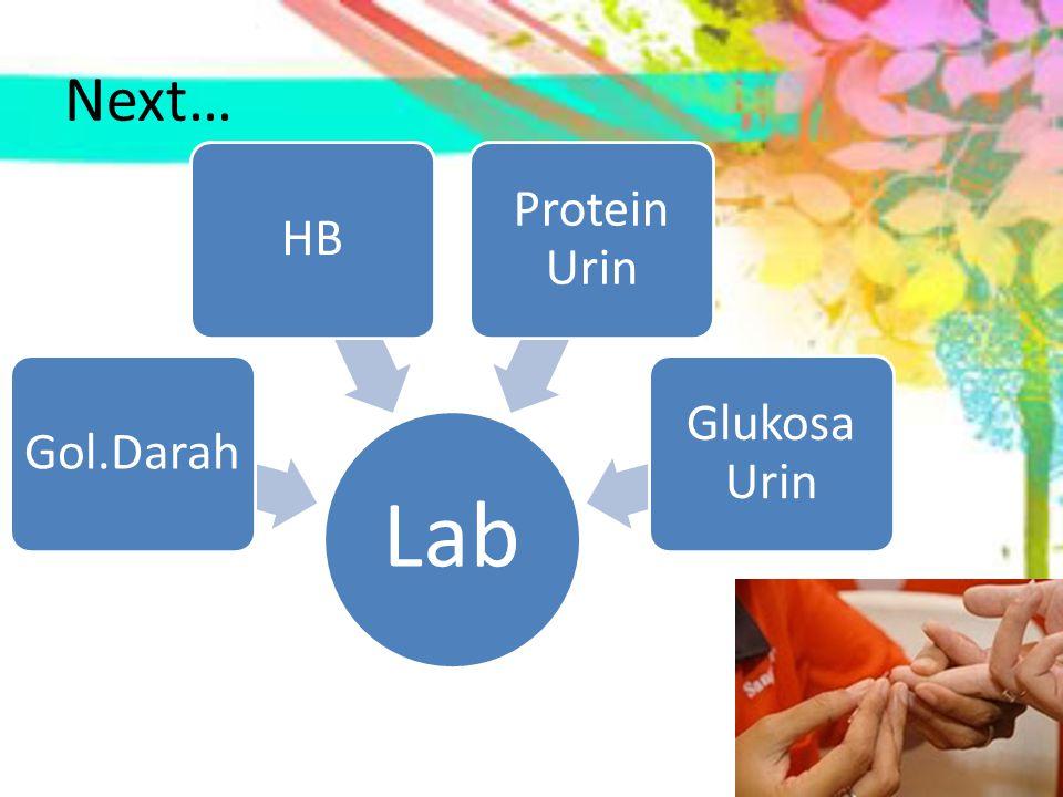 Next… Lab Gol.Darah HB Protein Urin Glukosa Urin