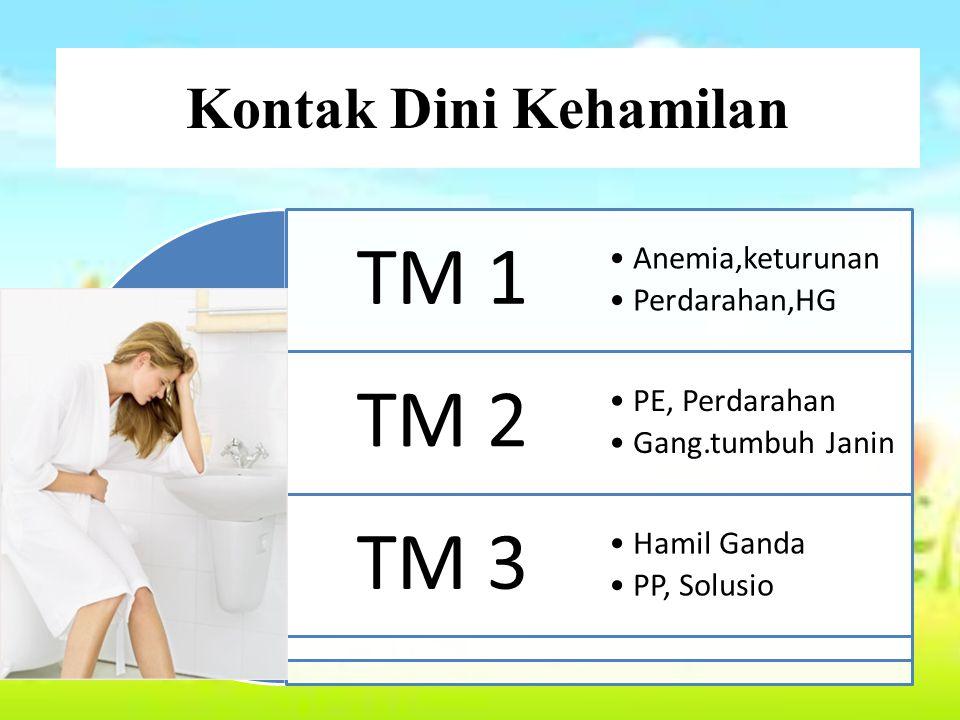Kontak Dini Kehamilan TM 1 Anemia,keturunan Perdarahan,HG TM 2