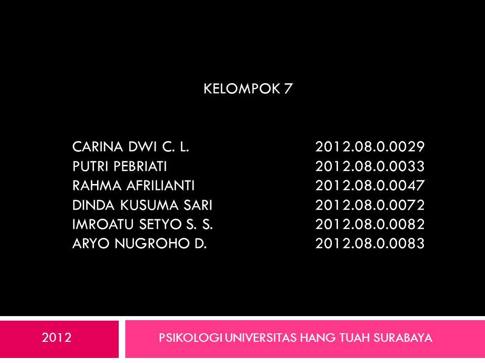 Kelompok 7 Carina Dwi C. L. 2012. 08. 0029 Putri Pebriati. 2012. 08