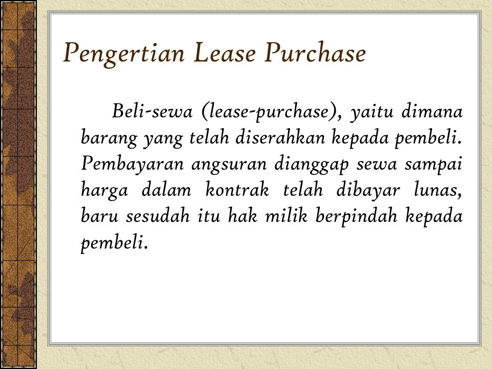 Pengertian Lease Purchase