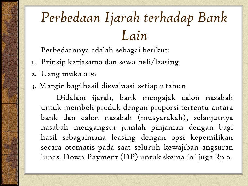 Perbedaan Ijarah terhadap Bank Lain