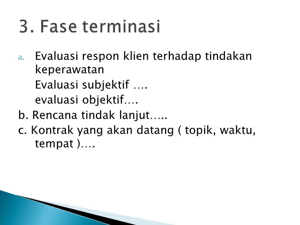 3. Fase terminasi Evaluasi respon klien terhadap tindakan keperawatan