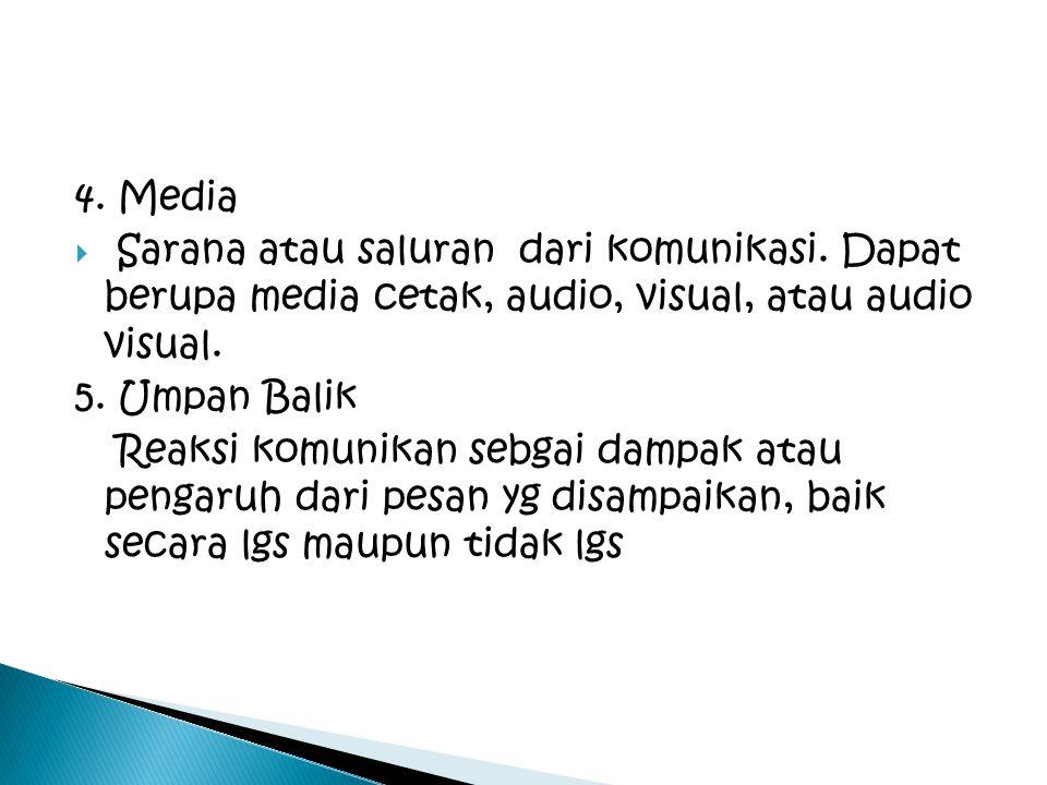 4. Media Sarana atau saluran dari komunikasi. Dapat berupa media cetak, audio, visual, atau audio visual.