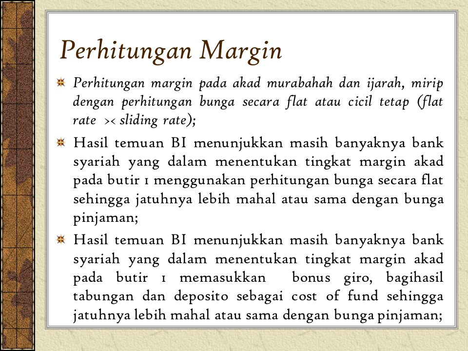 Perhitungan Margin