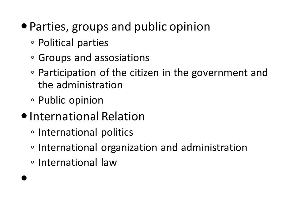 Parties, groups and public opinion