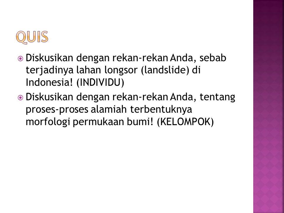 QUIS Diskusikan dengan rekan-rekan Anda, sebab terjadinya lahan longsor (landslide) di Indonesia! (INDIVIDU)