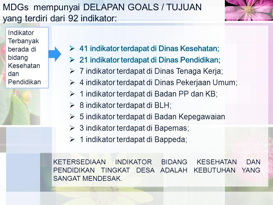 MDGs mempunyai DELAPAN GOALS / TUJUAN yang terdiri dari 92 indikator: