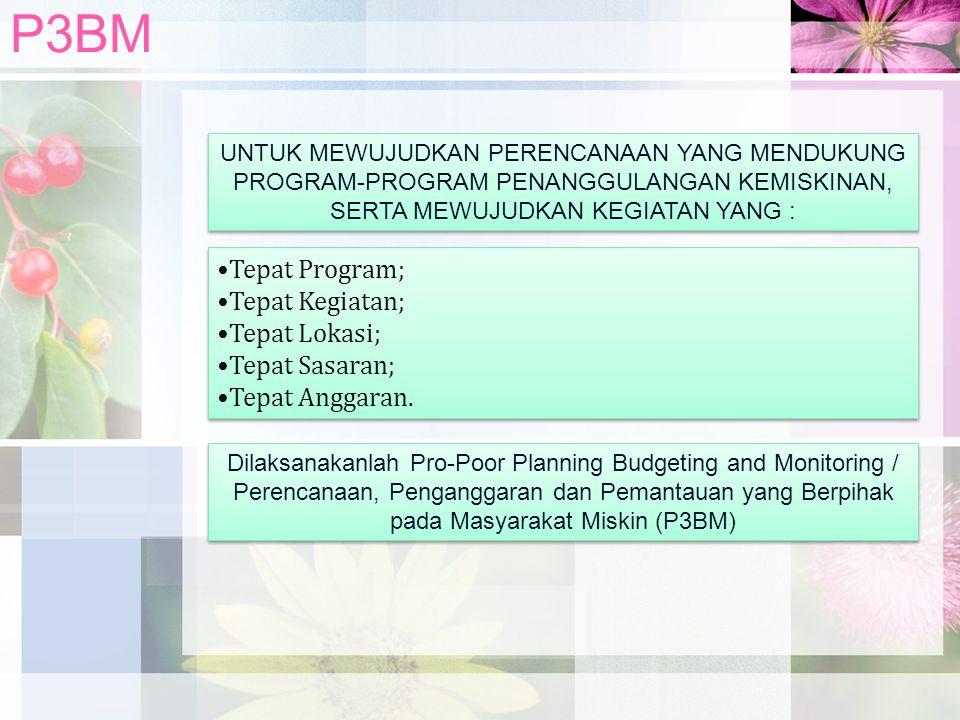 P3BM Tepat Program; Tepat Kegiatan; Tepat Lokasi; Tepat Sasaran;