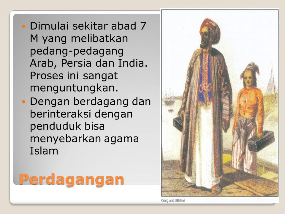 Dimulai sekitar abad 7 M yang melibatkan pedang-pedagang Arab, Persia dan India. Proses ini sangat menguntungkan.