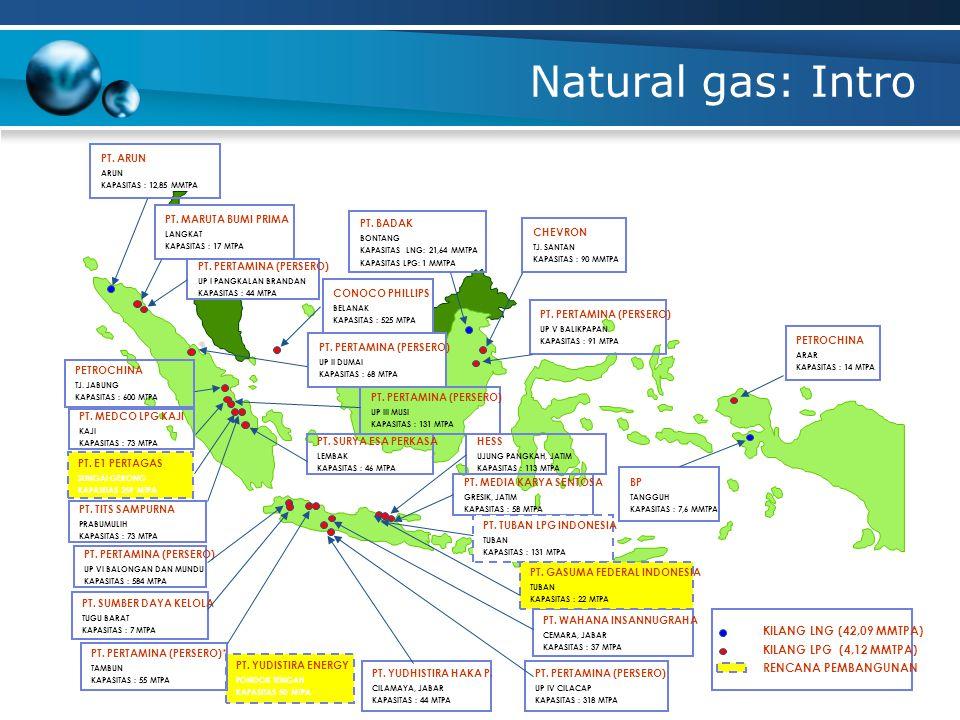 Natural gas: Intro KILANG LNG (42,09 MMTPA) KILANG LPG (4,12 MMTPA)